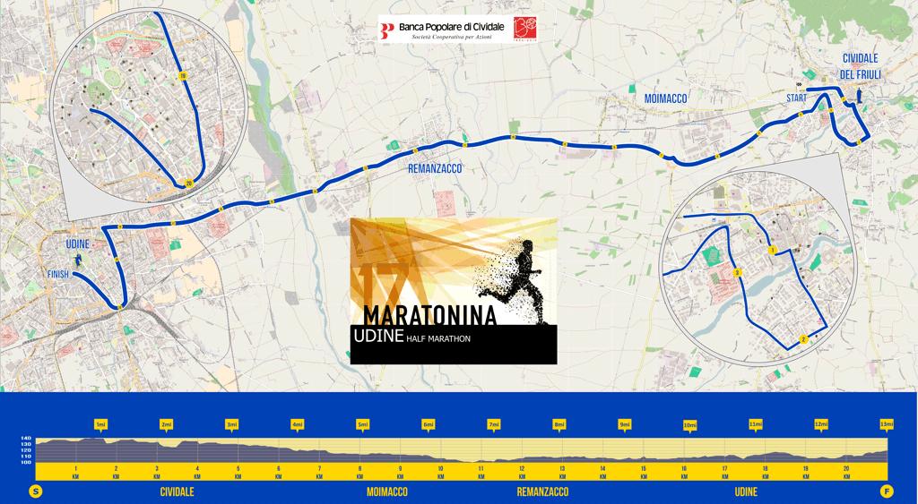 Maratonina Udine percorso 2016